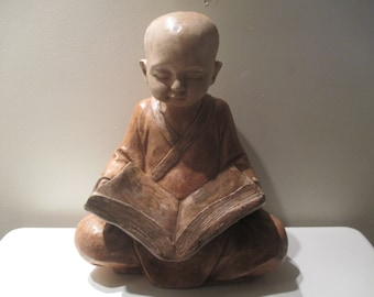 Buddhist Monk Reading the 5 Precepts Feeder|Statue