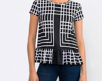 Black And White  Short Sleeve Jersey Peplum Tee