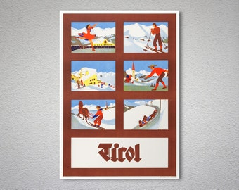 Tirol, Austria Vintage Travel Poster   Poster Print, Sticker Or Canvas  Print / Gift