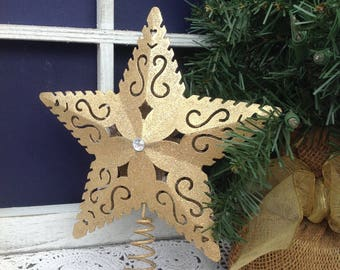 "8"" Gold Filigree Star Tree Topper, Metal Filigree Star, Medium/Large Tree, Christmas Decor"