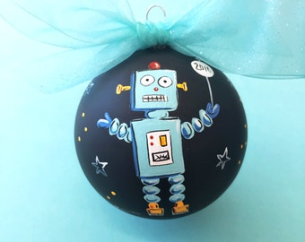 Robot   Hand Painted Glass Ornament