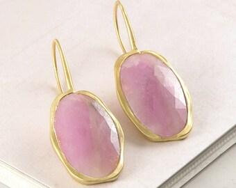 Gold Pink Sapphire Earrings, Sapphire Drop Earrings, Gemstone Jewelry, Sapphire Earrings for Her, Birthstone Drop Earrings, EmbersJewellery
