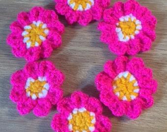 Sparkly Pink Crochet Flower Appliques PK6 - FREE UK P&P