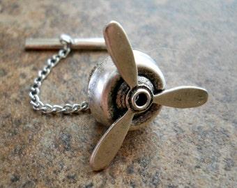 Propeller Men's Tie Tack, Silver Propeller Tie Tack, propeller, silver tie tack, propeller tie tack, steampunk propeller, steampunk tie tack