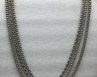 Vintage three chain bold Sterling silver necklace.