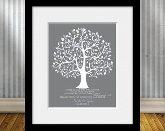 Parent's Wedding Day Thank You Gift, Bride's Parent Gift, Groom's Parent Gift, Wedding Tree Print, 1 Corinthians 13:13, Faith Hope and Love
