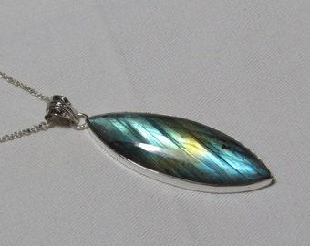 Labradorite pendant - Natural Flashy Color Pendant Marquise shape Pendant