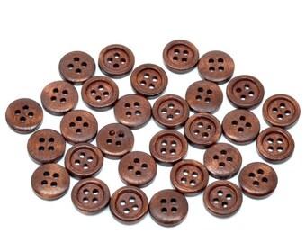100 Round Wood Button Four Hole Dark Brown Colour 15mm Wholesale Bulk 100 Pack PWB21