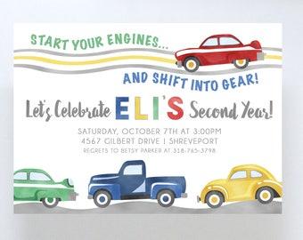 Car Themed Birthday Invitation//Boy's Birthday Party