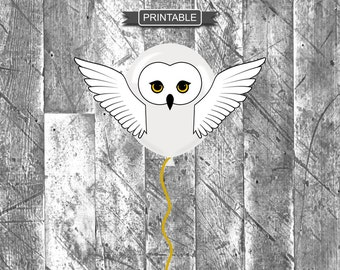 DIY Harry Potter Style Owl Baby Shower or Party Balloon Decoration Template Printable PDF Instant Download