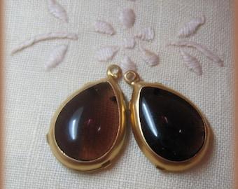 Brown Smoked Topaz Pear shape Vintage  Unfoiled 24MM Rhinestone Teardrop Brass Setting Pendant