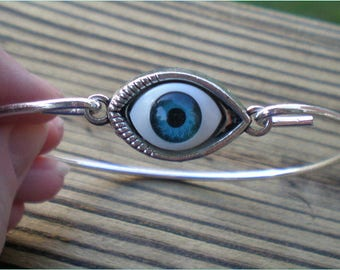 Evil Eye Bangle, Lucky Bracelet, Jewelry By BajaCharms, Jewelry Findings
