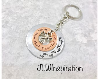 Footprints in the sand keychain, it was then that I carried you, gift, present, mom, grandma, dad, son, wife, daughter, religious, God
