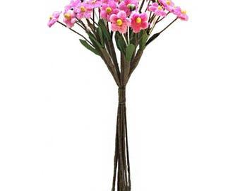 Czech Republic Velvet Forget Me Nots Millinery Fabric Flowers  Medium Pink NFC046-MPK