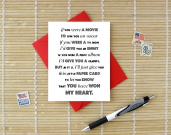 I'd Give You An Award - Sweet romantic Valentine, Birthday or Anniversary Card for Him or Her