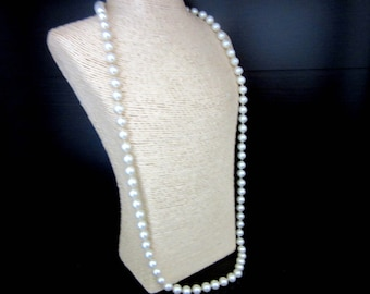 Faux Pearl Necklace White & Individually Knotted silver Plated Filigree Clasp 29 Inches