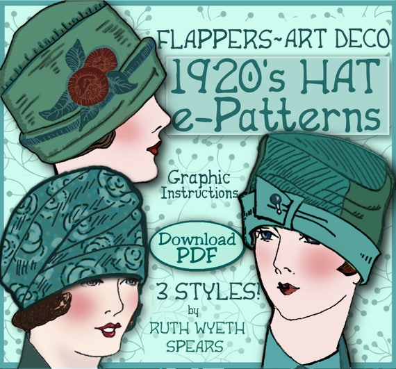 1920s Patterns – Vintage, Reproduction Sewing Patterns Vintage Hat Patten 1920s Flapper  CLOCHE Turban e-Patterns PDF (Marjorie Set) $3.99 AT vintagedancer.com
