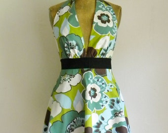 Womens Apron Sexy Marilyn Full Apron Mod Floral