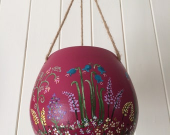 Floral Design Hanging Flower Pot – Hand Painted by Cassie Butcher