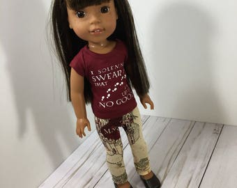 14.5 Inch Doll Clothes- Wizard Character Top and Leggings and doll shoes fits Dolls Like Wellie Wishers doll clothes Hasbro Toddler Doll