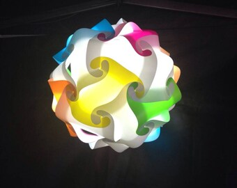 Sphere Rainbow and white lamp fixture puzzle