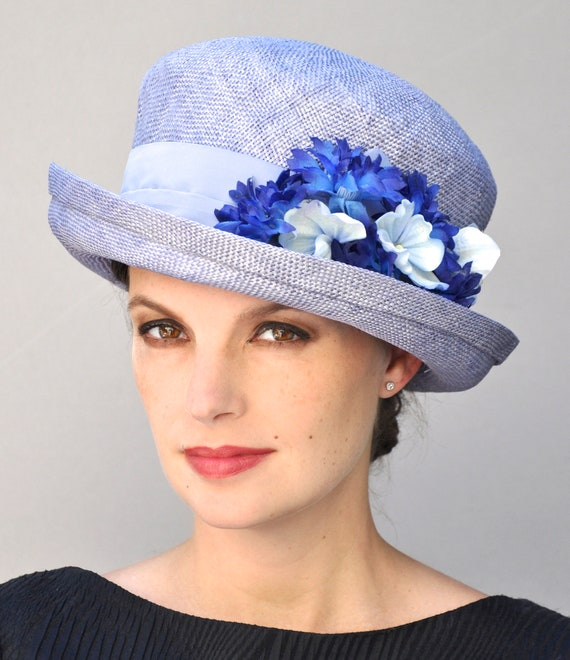 Womens Ladies Blue Hat, Wedding Hat, Derby Hat, Formal Straw Hat with Flowers, Tea Party Hat, Garden Party Hat, Formal Hat, Dressy Hat