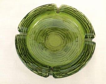 ANCHOR HOCKING SORENO Avocado Green Glass Ashtray - Mid Century