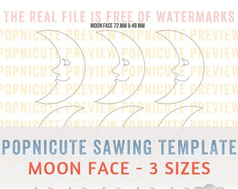 DIGITAL SAWING TEMPLATES - Moon Face - 3 Sizes