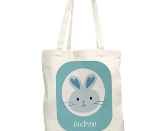 Easter Bunny Personalized Tote Bag,  canvas tote, easter gift, easter egg hunt, easter bunny, for kids, spring, blue -gfy8100852-Blue