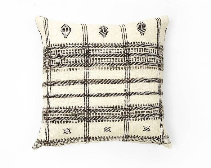 Handwoven Cream And Brown Natural Wool Indian Blanket Textile Pillow Cover 20x20