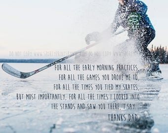 Thanks Dad - Father's Day Greeting Card - Hockey Dad - 4.5x5
