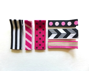PINK BLACK No slip hair clips. Hair accessories for girls. Accessories for girls. Hair clips for girls, toddlers. Baby hair clips. Set of 6.