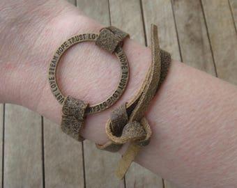 Inspirational Bracelet - Brown Leather Bracelet - Boho Cuff - Leather Cuff - Leather Wrap Bracelet - Leather Jewelry - Boho Jewelry