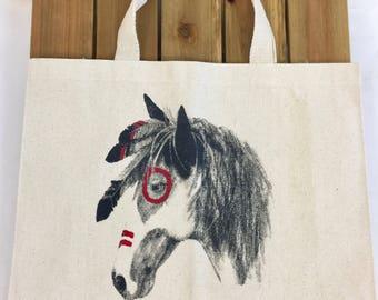 """Canvas """"War Horse"""" Market Tote Bag"""
