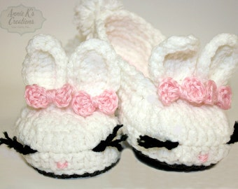 Baby Bunny Slippers - Bunny Slippers - Baby House Slippers - Knitted Slippers - Baby Girl Crib Shoes - Baby Crochet Shoes - Rabbit Slippers