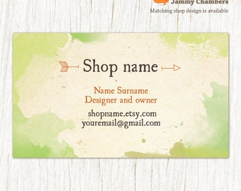 Business card template, Printable business cards, Custom business card, Natural Rustic Eco Green Watercolor Graphics