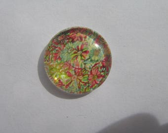 Glass cabochon round 20 mm with the image of multicolored flowers liberty