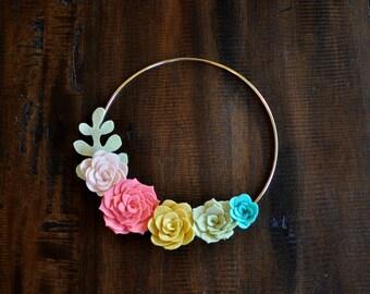 "Felt Succulent Wreath -  9"" - Spring Wreath - Spring Decor - Wall Decor - Baby- Felt Flower Wreath - Nursery Decor - Pink Yellow Green Teal"