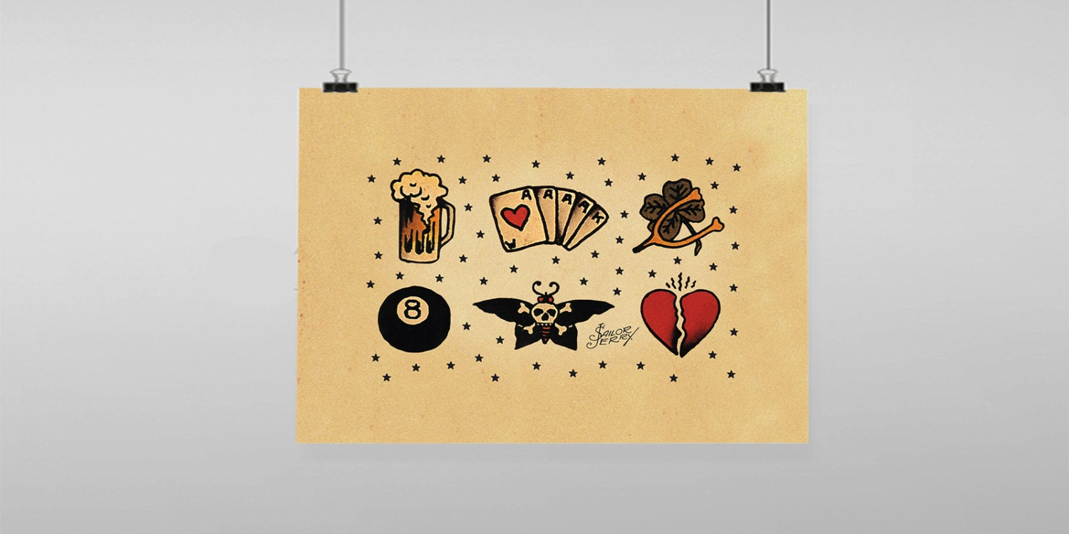 Lucky Charms Tattoo Sailor Jerry Vintage Reproduction Wall