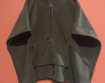 Dark olive green zip up poncho with kangaroo pocket
