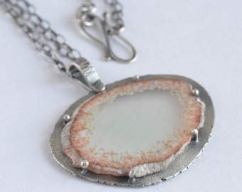 botryoidal agate slice raw edge sterling silver pendant necklace