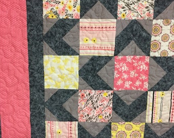 Baby girl quilt pieced pink gray