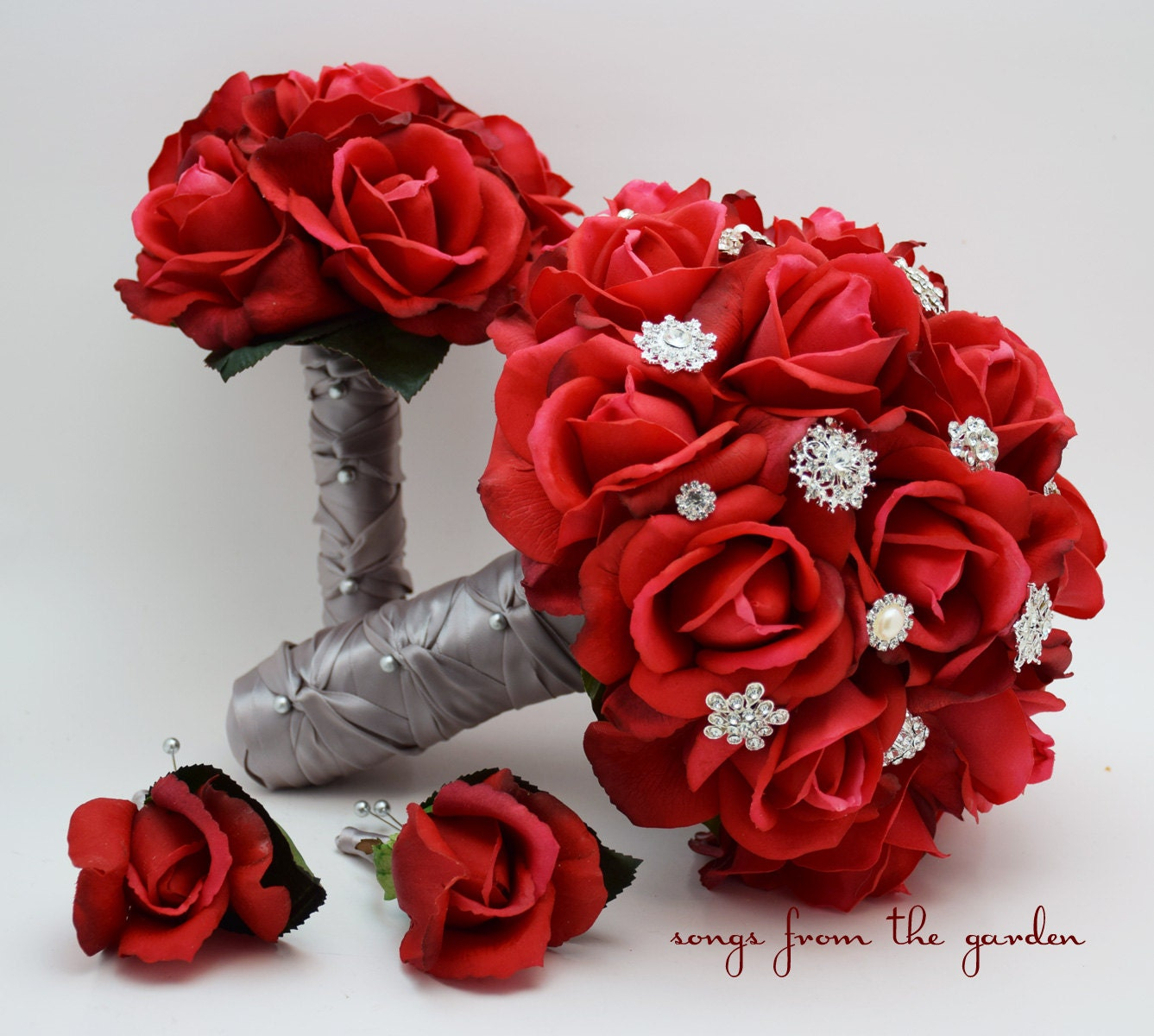 Red Wedding Flowers: Red Roses & Rhinestones Bridal Bouquet Real Touch Bridal