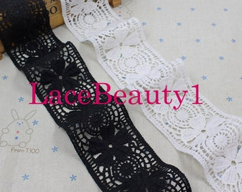 Embroidery cotton lace trim white/black Lace Trim Vintage Lace trim floral lace trim 6cm width 1 yard length