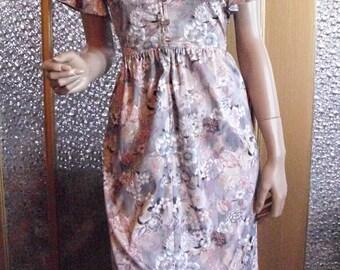 Mauve and Gray Floral Dress Size Medium