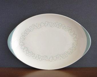 Vintage Royal Doulton Tracery Platter - Atomic Amoeba Squiggly Platter - Royal Doulton England D6442 Platter - Turquoise Teal Platter