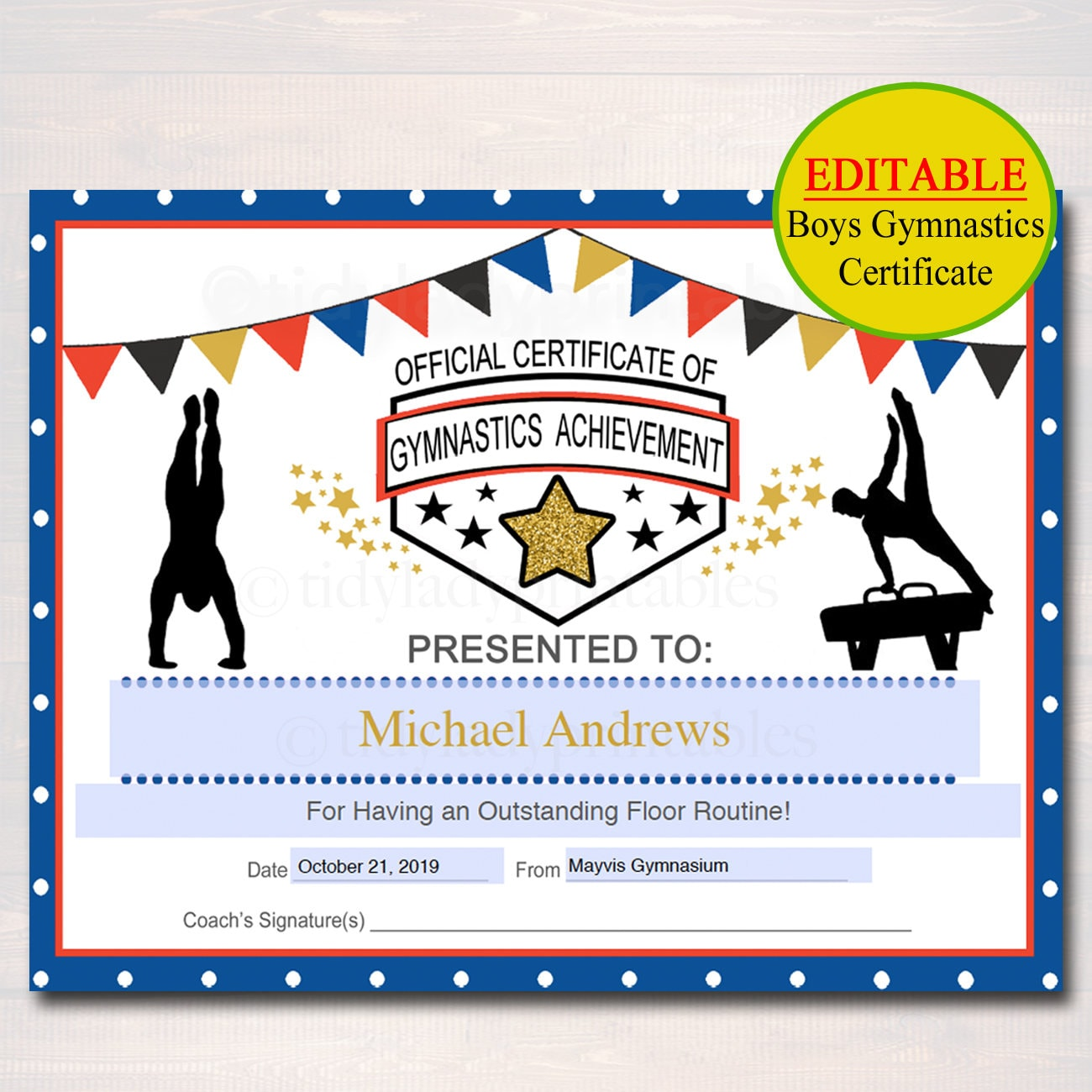 Editable gymnastics certificates instant download gymnastics zoom 1betcityfo Choice Image