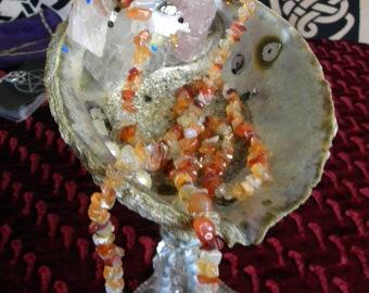 Carnelian Quartz Crystal Necklace