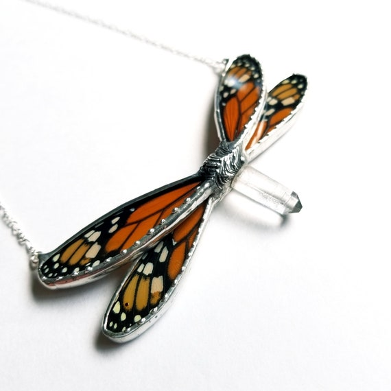 Monarch Butterfly Jewelry / Butterfly Necklace / Blue butterflyNecklace
