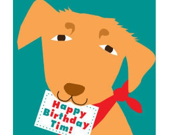 custom yellow lab birthday greeting card for Lydia